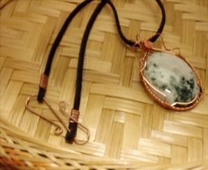 handmade copper leather neck cord by Rose Marion