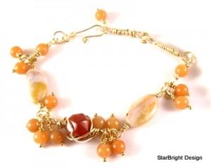 Carnelian wire bracelet by Debbie Ellis