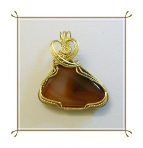 Carnelian Freeform Wire Wrapped pendant by Joan Madouse