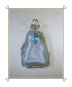Blue chalcedony druzy pendant wire wrapped in silver filled wire by Joan Madouse