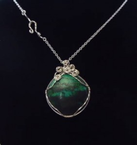 Chrysocolla pendant wire wrapped in sterling silver wire by Jane Duke
