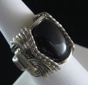 Black Onyx Ring in Silver Wire by Frances (Fenya) Lediaev