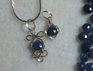 Connie Drake wrapped these delicate iolite briolette beads into pendants with 22-gauge gold filled wire.