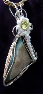 Green Druzy Wire Wrapped Pendant by Elizabeth Bisogni