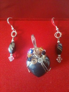 Hematite heart pendant and hematite earrings