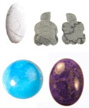 Natural howlite (top) and Dyed howlite cabochons and beads.