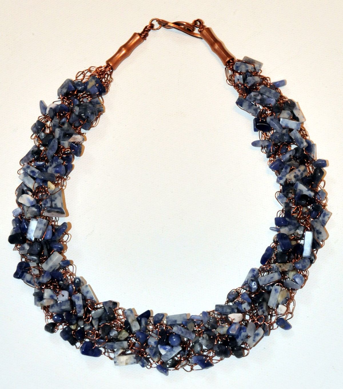 Wire Wrapped Lazurite Crystal Necklace with Sodalite Beads