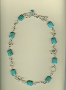 Marcia Hooten wrapped this Magnesite Square Necklace in sterling silver wire.