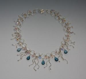 AAA London Blue Topaz Briolette Silver Necklace