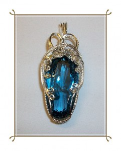 London Blue Topaz Wire Wrapped Pendant