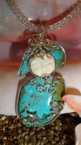Turquoise wire wrapped pendant by Emilie Jefferson