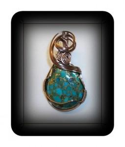 Copper turquoise wire wrap pendant