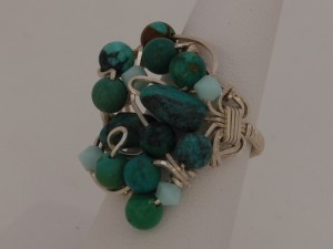 Sterling silver turquoise wire wrap ring