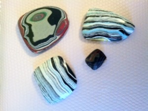 These Fordite cabochons are courtesy of Becky House.