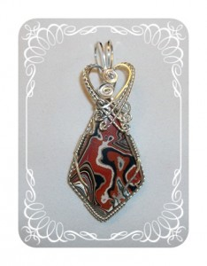 Red Fordite pendant wire wrapped by Joan Madouse