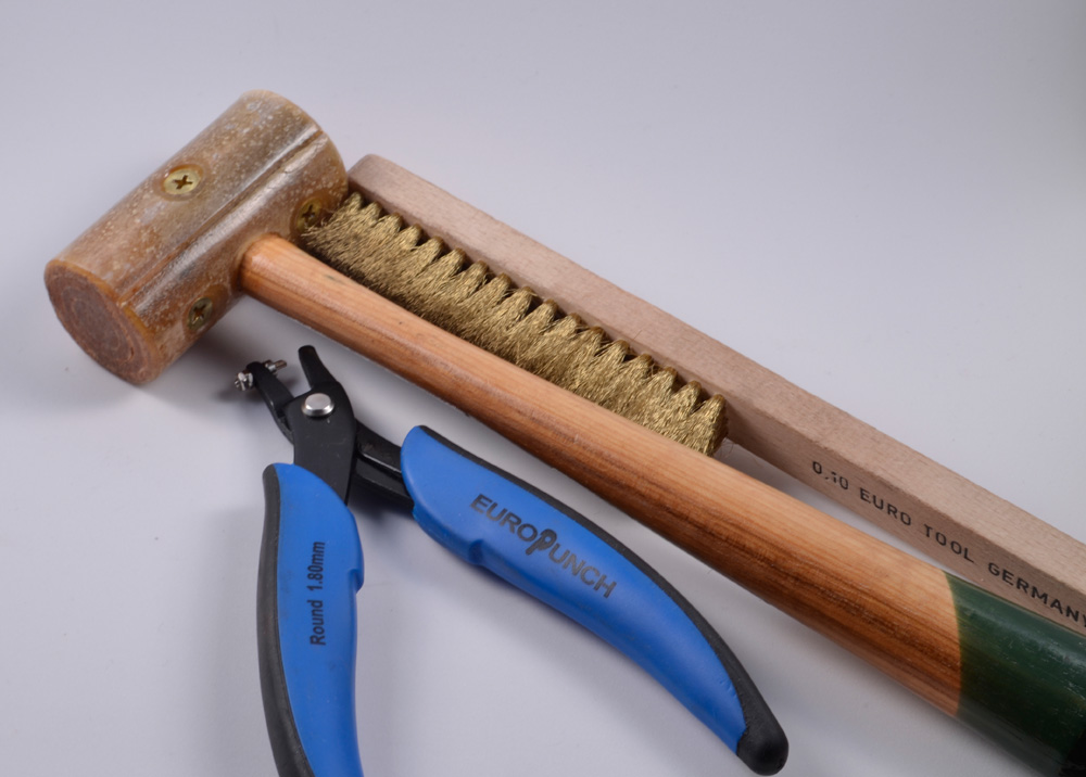 Euro Punch, Rawhide Mallet, and Brass Brush