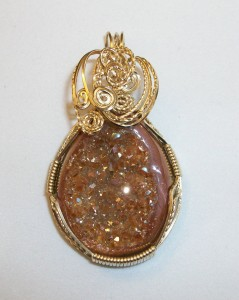 Carmel-brown druzy pendant wrapped by Joan Madouse