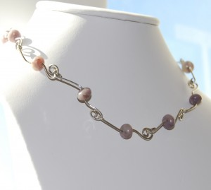 Sterling Silver Chain by Marcia Kertel, featuring lepidolite beads