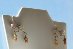 Lepidolite bead earrings with picture jasper beads by Marcia Kertel