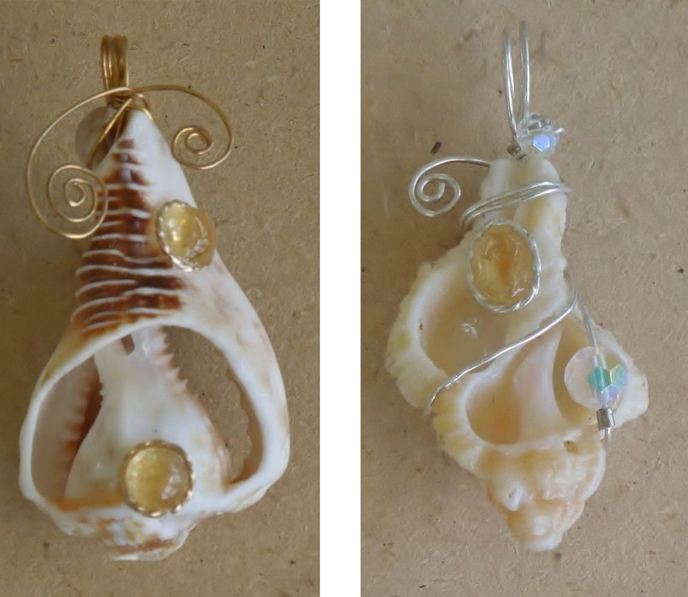 Murex Shell And Helmet Shell Wire Pendants By Janet Knight