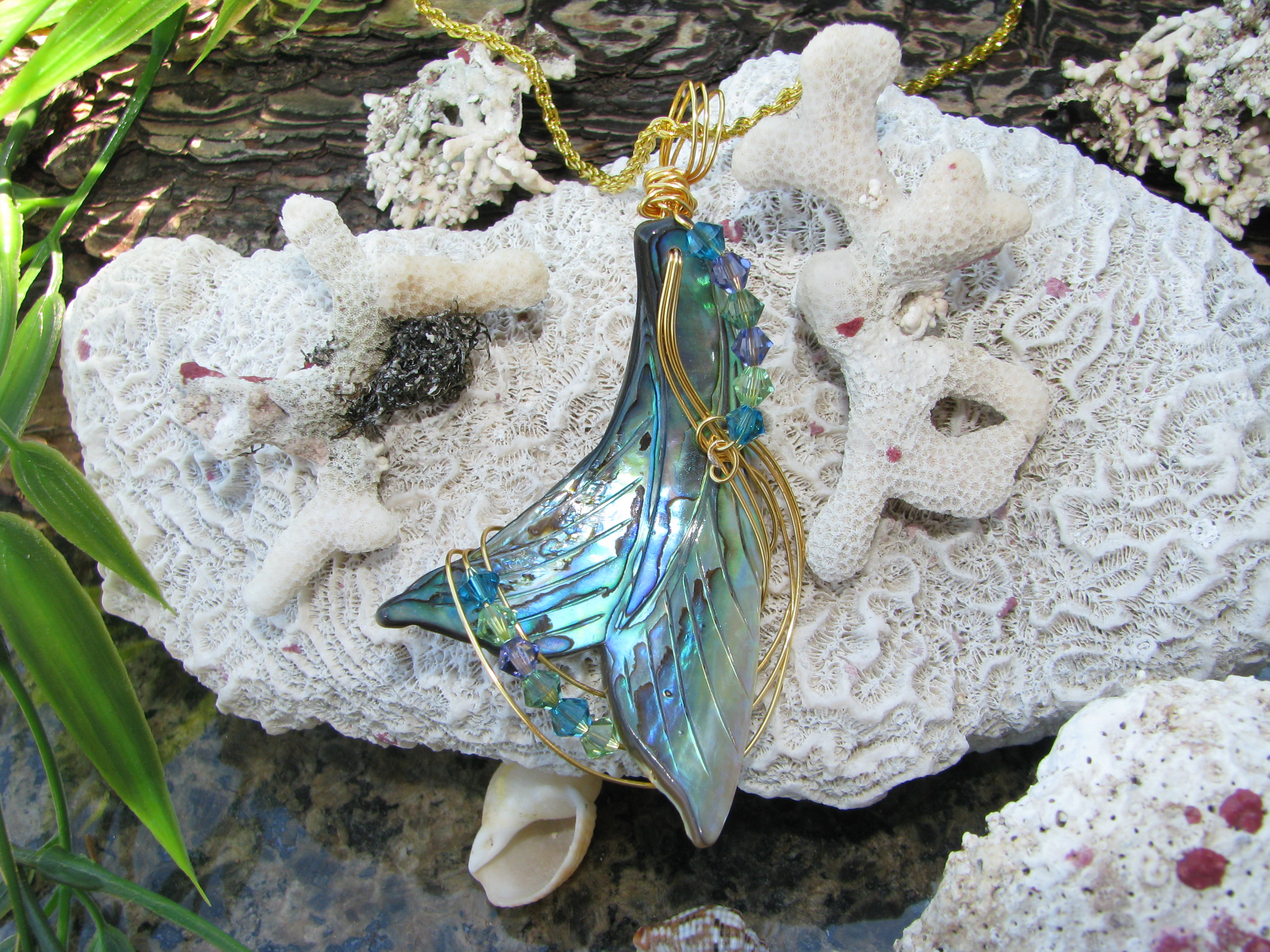 Carved Abalone Pendant by Linda Pope