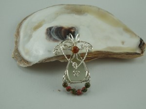 Argentium wire pendant with unakite beads by Bryan Cook