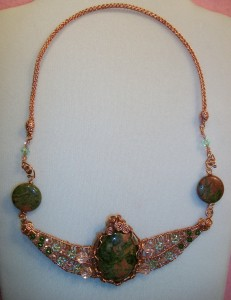 Gina Smith created this Unakite Necklace in copper wire