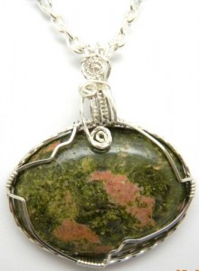 Karen McCoun wrapped this unakite wire pendant