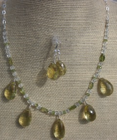 Batya Morris Peridot and yellow quartz necklace
