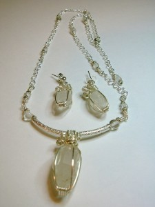 Double-terminated quartz wire wrapped set by Sheila Mosher
