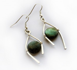 Labradorite Earrings in Silver by Albina Manning