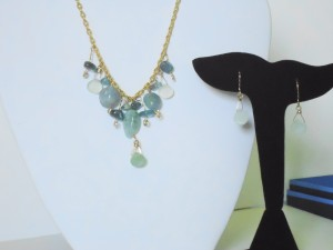 Jane duke created this necklace and earring set using 14kt gold-filled wire and aquamarine, prehnite, and apatite beads.