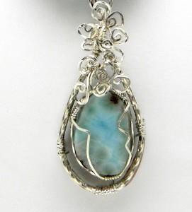 Silver-wrapped larimar pendant by Karen McCoun