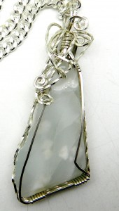 Another pale, translucent larimar pendant by Karen McCoun in silver.