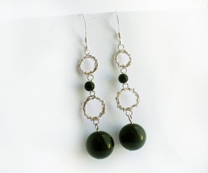 Albina Manning made these silver and green earrings using Green Goldstone Beads.
