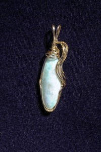Delores Heiden wrapped this larimar cabochon in 14kt gold-filled wire; Darryl Heiden cabbed the stone for the pendant.