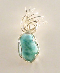 Delores Heiden wrapped this larimar cabochon in Argentium silver wire; cabochon by Darryl Heiden