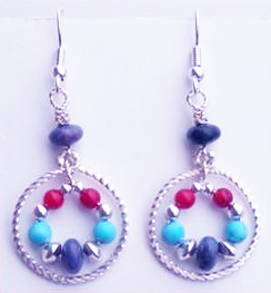 Purple Crazy Lace Agate Earrings by Judy Larson