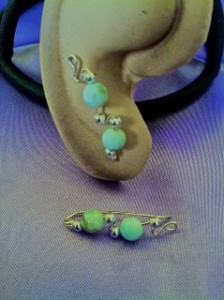 Rebecca House made these Argentium silver Ear Climbers from larimar beads and sterling silver bead accents.