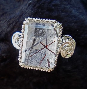Rectangular clear quartz ring