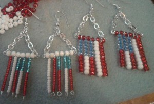 Red, whtie and blue flag earrings.