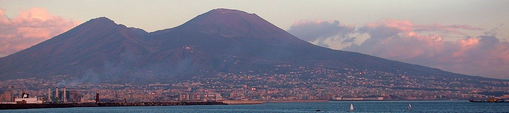 City of Naples with Mount Vesuvius at sunset