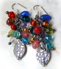 Cluster Earrings Jewel tones