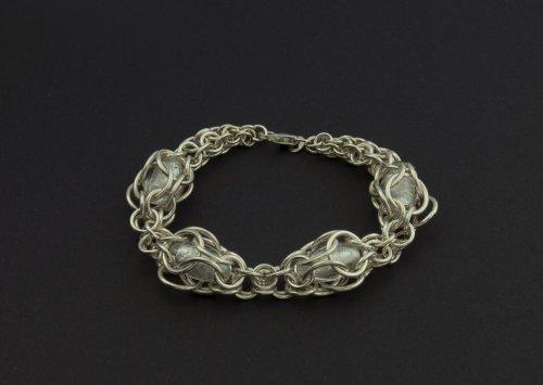 Pattern Venetian Glass Chain Maille Bracelet